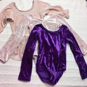 Set of three little girls velvet dance leotards XS